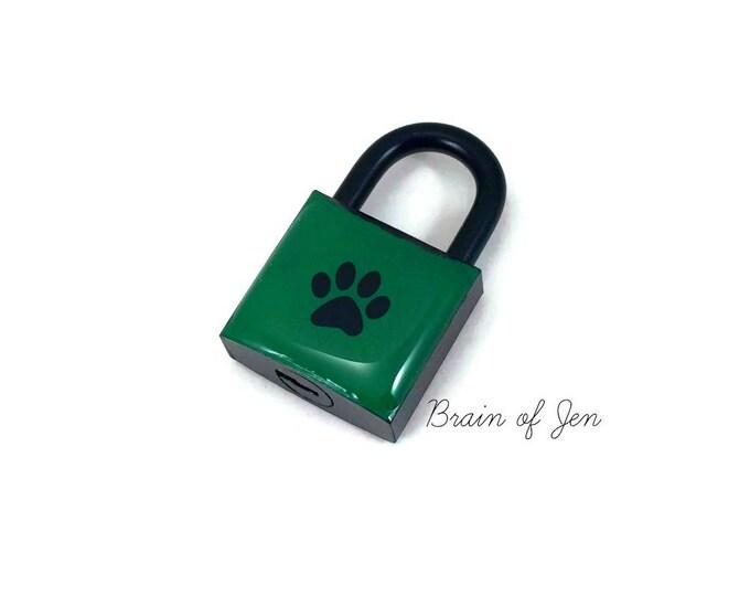 Black & Green Paw Print Lock