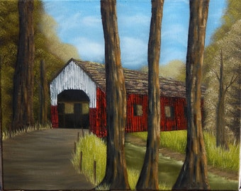 Red Covered Bridge in the Woods