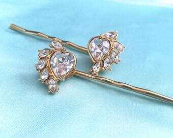 Vintage hearts - gold plated rhinestone heart jewel hair pins, bridal, Valentines Day
