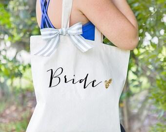 Bride Tote Bag for Bridal Shower Gift, Canvas Bag for Bride to Be, Striped Ribbon Bag for Gift for Wedding Bridal Shower  ( Item - BBR300)
