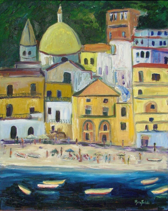 Amalfi Coast Italy - Fine Art Print Giclee from Original Oil Painting by BenWill