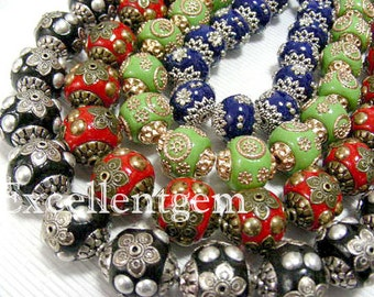 10pcs-Nepalese Handmade Large hole bead-Clay with brass in round shape,4colors