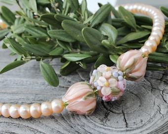 Lampwork Necklace, Handmade Lampwork Necklace, Flower Necklace, Lampwork Pendant, lampwork Flower Necklace