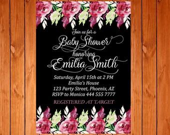 Baby Shower Invitation, Floral Invitation, Watercolor Invitation, Custom Invitation, Printable Invitation, Watercolor Flowers Invitation
