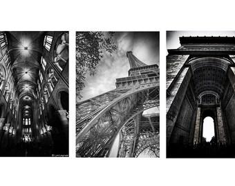 Black and White Paris Print Set - Set of 3 Paris prints in black and white, Paris photography, Eiffel Tower, Arc of Triumph, Paris art