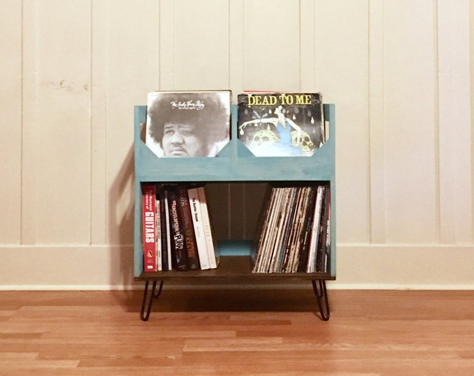 """Featured listing image: Deluxe Vinyl Record Storage on 6"""" Hairpin Legs // Displays and Protects Your Collection of Over 200 12"""" vinyl records"""