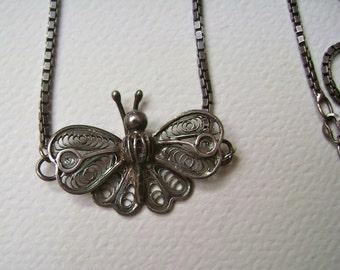 spun silver butterfly necklace, sterling