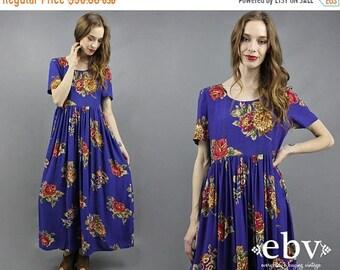 Floral robe Maxi des années 90 Maxi robe des années 90 robe fleurie des années 1990 robe Maxi robe des années 1990 des années 90 robe des années 90 robe robe à fleurs bleu S M L