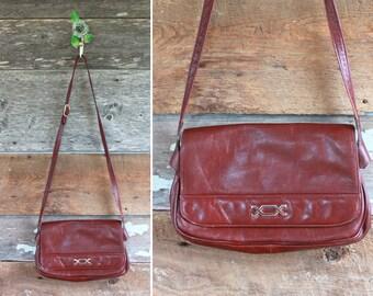 sac bandoulière en cuir Bourgogne | sac à main vintage des années 1980 par Bamberger de | 80 s sac à main