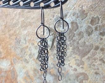 HOOP Earrings with sterling silver chain fringe, silver jewelry, sterling silver hoop earrings, handmade earrings Angry Hair Jewelry