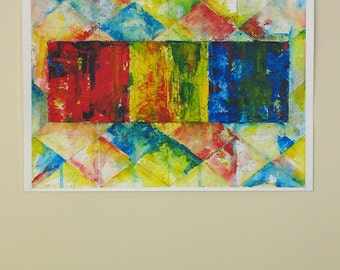 Geometric Art Abstract Painting Contemporary Wall Decor Primary Colors Red Yellow Blue