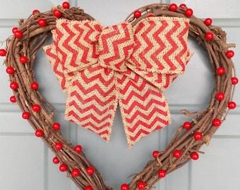 Heart Shaped Wreath -Valentine's Day Wreath - Wreath for Front Door - Heart Door Decoration -Heart Shaped Door Wreath - Heart Door Hanger