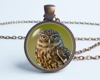 Owl necklace Night owl Owl jewelry Owl pendant Bird jewelry Gift for girlfriend Owl art Night bird necklace Birthday gift Bird necklace