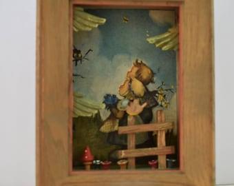 3D Vintage Wooden Picture, Retro Decor, Children's Decor, Vintage Decor, Retro Picture Hummel Girl and Boy Three Dimensional