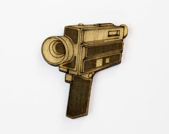Retro Wooden Super 8 Camera Badge