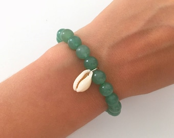"""Bracelet """"Cowrie"""" aventurine * happiness *, beads natural stone, shell, wellness, Bohemian chic, gift idea for woman"""