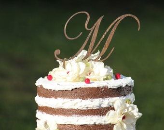 Monogram Wedding Cake topper - Wooden cake topper - Personalized Cake topper