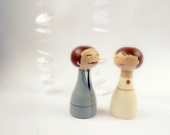FREE SHIPPING Wedding Cake Topper Personalized - Wooden art doll hand painted mustache grey ivory broch