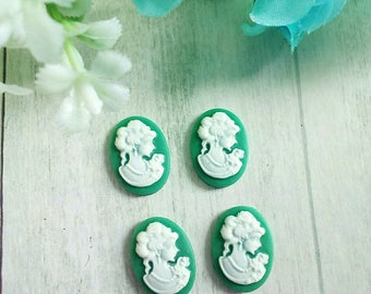 4 green oval resin woman portrait cameos
