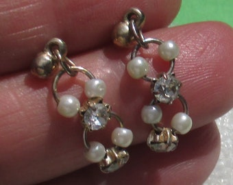 Vintage White Faux Pearl Rhinestone Dangling Pierced Earrings