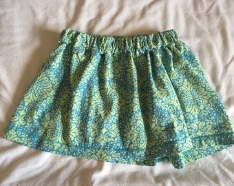 Green Print Girls Skirt
