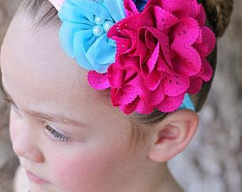 Pink Blue Headband, Fuchsia Flower Headband, Blue Flower Headband, Pink Flower Headband, Newborn Headband, Toddler Headband, Photo Prop