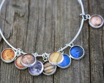 Planet Bracelet, Space Bracelet, Solar System, Nine Planets, 9 Planets Bracelet, Space, Space Jewelry, Solar System Bracelet, Galaxy Jewelry