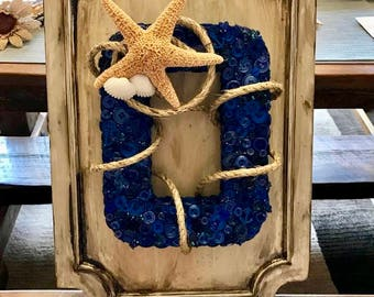 Rustic Beach themed Wall Hanging made from a repurposed cabinet door