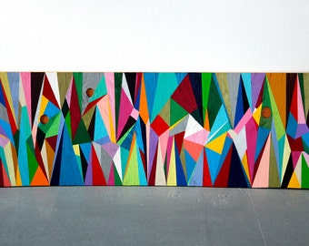 Minimalist Geometric Custom Abstract Painting//Acrylic on found wood//Repurposed//One of a kind