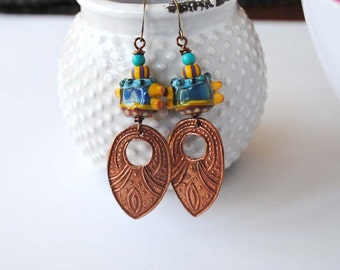 Colorful Ethnic Earrings, Large Copper Earrings, Funky Lampwork Earrings, Teardrop Earrings, Boho Gypsy Earrings,