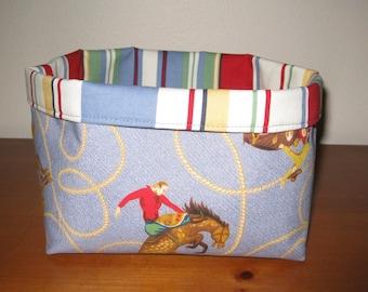 Kids Cowboy Western Fabric Storage Basket Box Bin