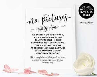 No Pictures Pretty Please, No Pictures Sign, No Camera Sign, No Cell Phone Sign, No Photos Wedding Sign, No Devices Wedding Sign Printable