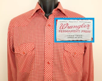 Wrangler vintage snap button shirt 15.5 35 red white 70s patterned collared button down