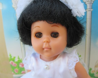 Vintage Ginny Vogue Doll in Lucite Collectors Case, Black Hair in Ballerina White Dress with Headband, Collectible Ginny Dolls, 1980s