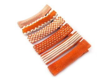 6 Orange Hair Clips Baby Girl Hair Clips Baby Hair Clips Spring Hair Clips Summer Hair Clips Fall Lined Hair Clips Alligator Clips