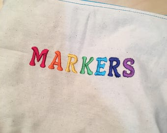 Embroidered Zipper Pouch-Markers (EZip 27)