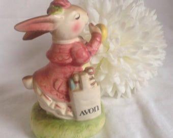 "Vintage Avon Bunny Figurine  ""Ready For An Avon Day"" 1980's"