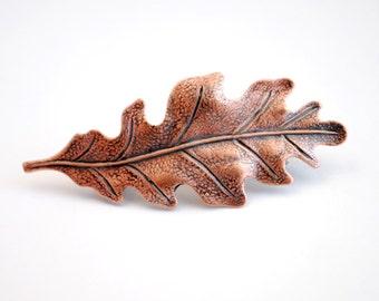 Copper Leaf Barrette. Leaf Barrette