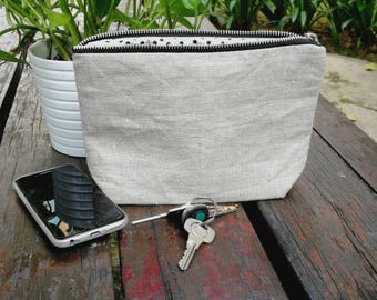 Natural Linen Toiletry Bag, Cosmetic Pouch, Rustic Linen cosmetic Pouch, Eco Friendly Pouch-YKK zipper-Jessy
