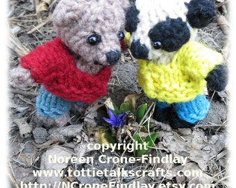 Findlay and Flora Teddy Bear Knitted Sweater and Pants PDF Pattern
