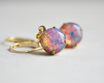 Opal Earrings, Pink Opal Earrings, Gold Opal Earrings, Birthstone Earrings, October Birthstone, Pink Earrings, Vintage Earrings, Fire Opal
