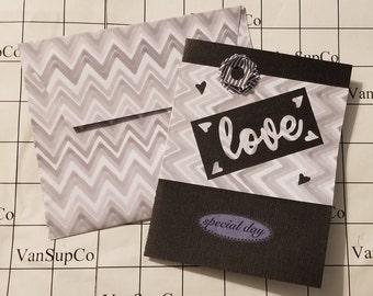 Wedding Greeting Card - Handmade - Black, Grey, White