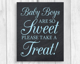 Printable Baby Boys Are So Sweet Please Take a Treat 5x7, 8x10 Chalkboard and Baby Blue Baby Shower Candy Buffet Sign - Instant Download