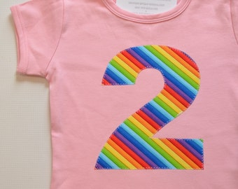 Girl 2nd Birthday Shirt, Rainbow Birthday Party, Number 2 Shirt, Applique Two Tee, 2T Ready to Ship Pink Short Sleeve, Red Blue Green Purple