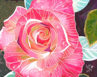 Giant Rose Garden Art Print | Mixed Media Painting | Floral Photograph | Katie Daisy | 8x10 | 11x14