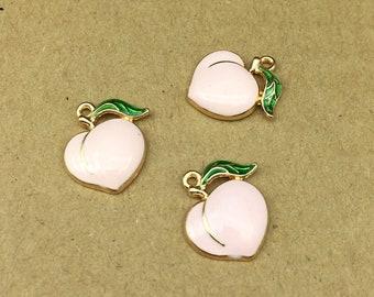 10PCS, 14*18MM, Enamel Charm, Fruit Charm, Peach Charm, Pink Peach, Craft Supplies, DIY Findings
