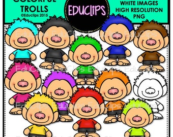 Colorful Trolls Clip Art Bundle