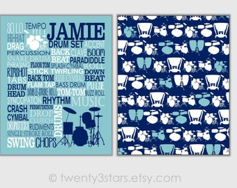 Drums Typography and Pattern Art Prints, Drummer Art, Drummer Gift, Drummer Canvases, Drum Canvas Art, Drum Wall Art, Custom Drum Posters
