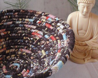 Coiled Fabric Basket - Asian Print Fabric, Catchall, Organizer, Handmade by Me, Dark Chocolate Brown