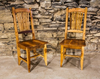 Antique Heart Pine Wheat Sheaf Spindle Back Chairs